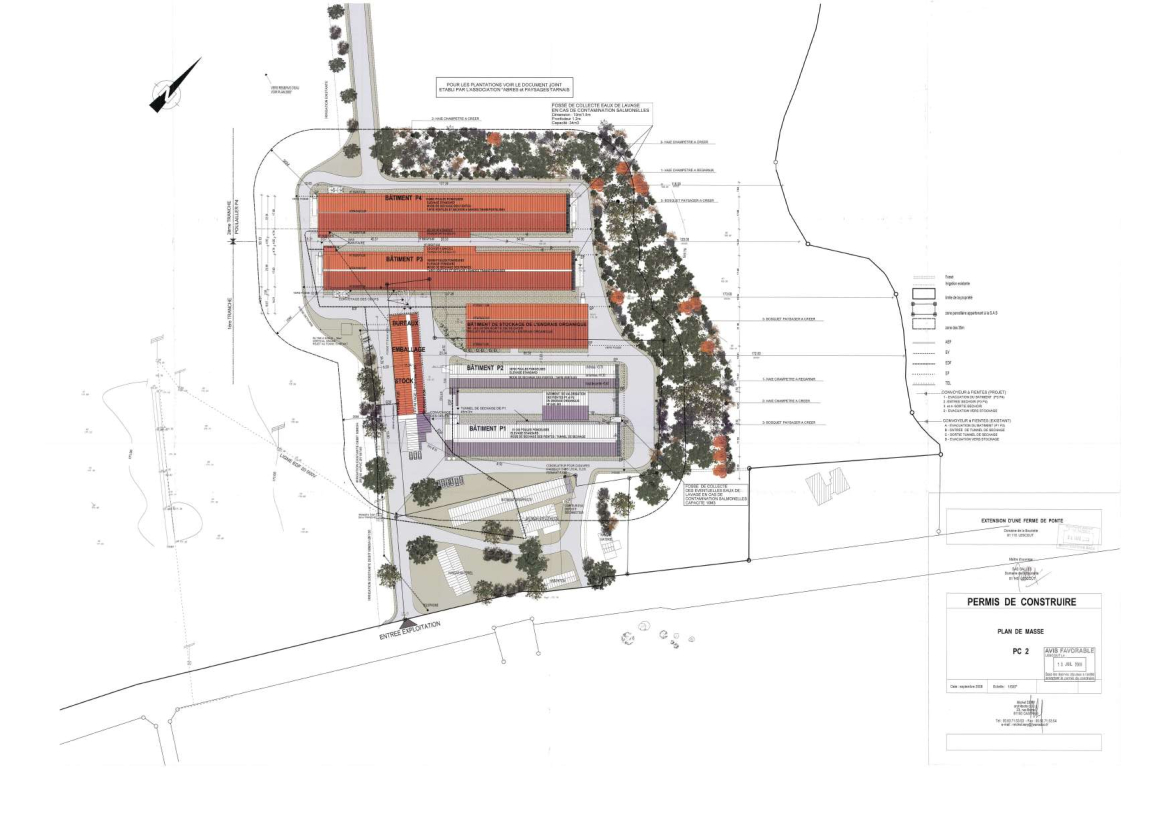 Le plan initial du permis de construire de l'exploitation Gallès.