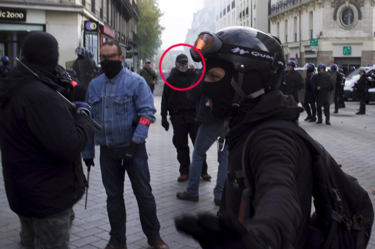 Manifestation suite à la mort de Rémi Fraisse / policiers cagoulés -Nantes, Pays de la Loire, France, Europe.